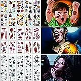 yumcute Halloween Tatuajes Temporales (30 Hojas),Halloween Cicatrices Tatuajes,Halloween Calcamonias para Niños,Tatuajes Telarañas Pegatinas,Tatuajes de Halloween tatuaje impermeables temporales