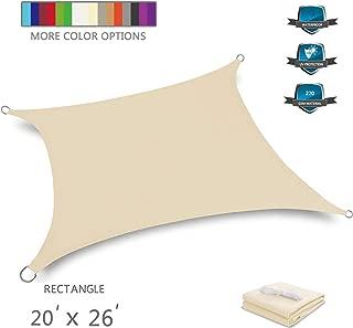Tuosite Terylene Waterproof Sun Shade Sail UV Blocker Sunshade Patio Rectangle Knitted 220 GSM Block Fabric Pergola Carport Awning 20' x 26' in Color Beige