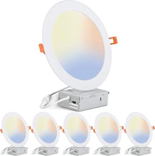 Sponsored Ad - JARLSTAR 6 Pack 8 Inch 3CCT Ultra-Thin LED Recessed Ceiling Light with Junction Box,3000K-6000K Selectable,...