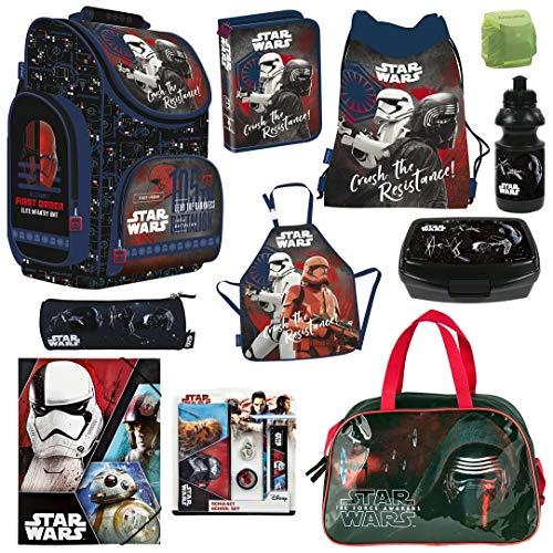 Familando Schulranzen-Set Star Wars 15-TLG. mit Federmappe Sporttasche und Regenschutz Ranzen
