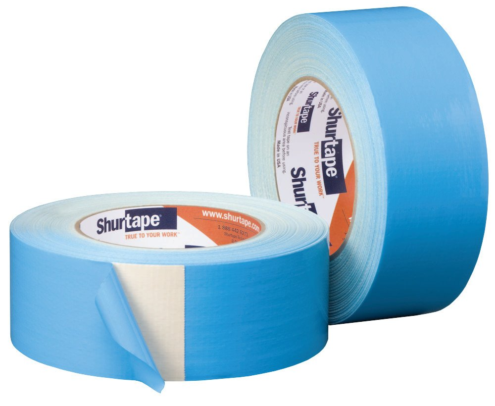 Shurtape DF 545 Double-Sided Carpet and Duct Tape, Sticks to Hardwood, Concrete, Tile and More, Natural with Blue Liner…