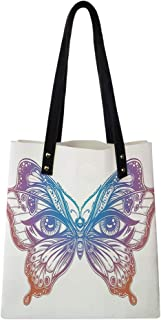 Women's Soft PU leather Tote Shoulder Bag, Spiritual Madam Butterfly Wings with Human Eyes Retro Tattoo Freedom Theme Nature,Big Capacity Handbag Hobo bag, Satchel Purse