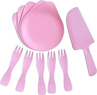 YBENWL Cake Tableware, 5sets PP Disposable Vintage Dinnerware Set, 5 Rim Plastic Plates with Handle, 5 Fork, 1 Cutter, Pla...