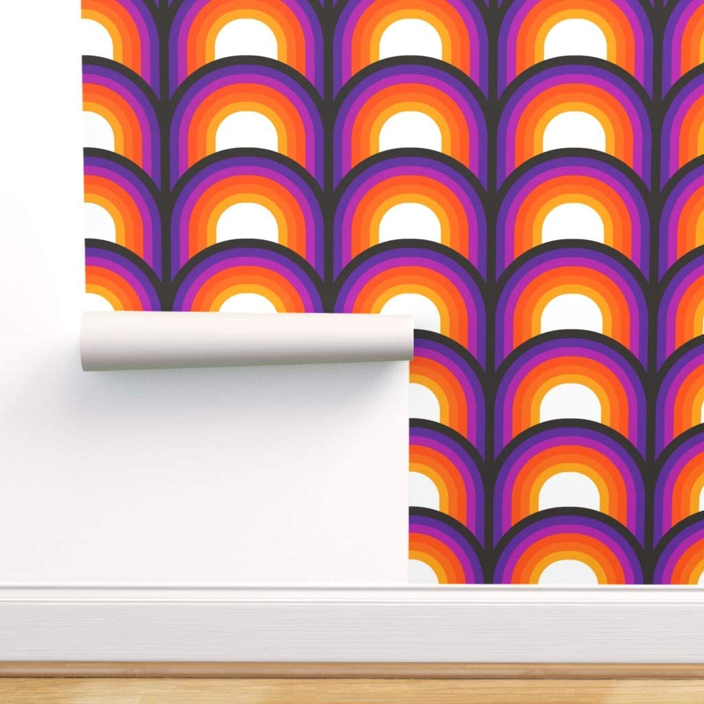 Spoonflower Peel and Stick Removable Wallpaper, Retro Orange Red ...