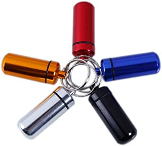 Elenxs 3pcs Colorful Waterproof Aluminum Pill Box Capsule Bottle Drug Holder Keychain Container
