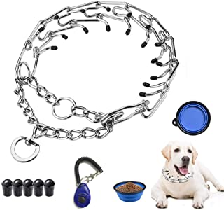 VCZONE Dog Prong Collar, Adjustable Stainless Steel Pinch Collar with Rubber Caps and Dog Training Clicker for Medium and Large Dogs Training