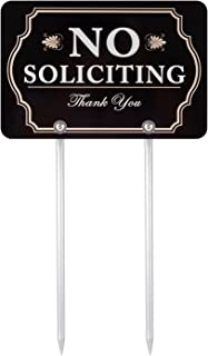 """Best Kichwit No Soliciting Sign for Yard, Aluminum, All Metal Construction, Sign Measures 11.8"""" x 7.9"""", 14"""" Long Metal Stakes Included Review"""