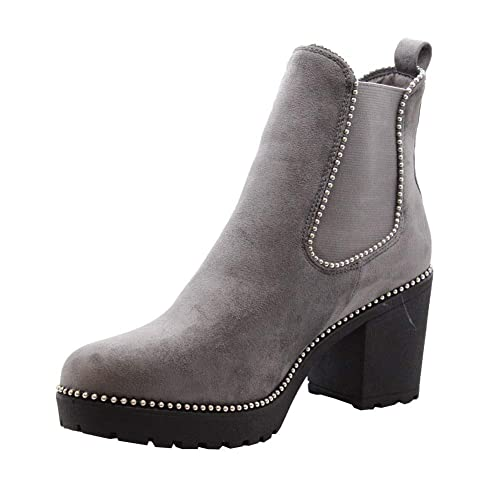 c8441a7605e1 Ladies Womens Block Chunky Heels Chelsea Ankle Boots Grip Sole Office Shoes  Size 3-8