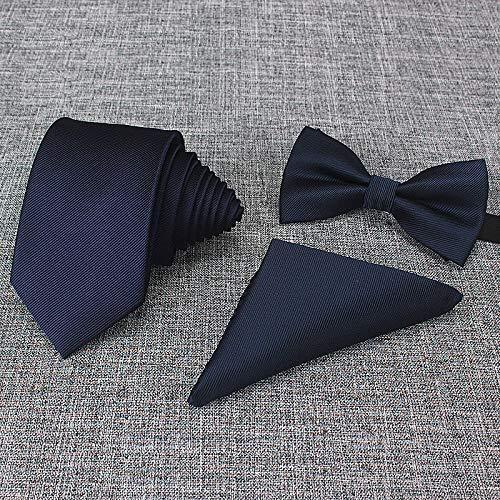 xiangpi Dreiteiliges Krawattenset, Abendgarderobe für Männer, Geschäftsheirat, Krawatte des Bräutigams, Taschenkrawatte-Dunkelblauer dreiteiliger Anzug