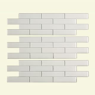 Aspect Peel and Stick Backsplash 12.5in x 4in Subway Frost Matted Glass Tile for Kitchen and Bathrooms (3-Pack)