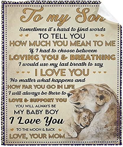 Manta Lions to My Son from Mom Throws Edredón ligero suave Microfelpa regalo mantas de franela para sofá cama 127 x 101 cm Póster para niño pequeño