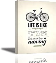 Quotes Wall Art Decor, Well-known Saying Aphorism Life Is Like Riding a Bicycle, To Keep Your Balance You Must Keep Moving by Albert Einstein, Inspirational Spirit Motto Canvas Prints with Inner Frame