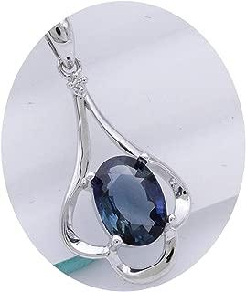 """18/"""" 925 Argent Diamant Accent Créé Opale Blanc /& Rose Saphir Ovale Collier"""