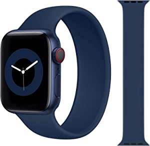 Solo Loop Strap Compatible with Apple Watch Band 38mm 40mm 42mm 44mm, Sport Elastics Silicone Apple Watch Bands Women Men, Replacement Wristband for iWatch Series 6 5 4 3 2 1 SE (Deep Navy 42M)