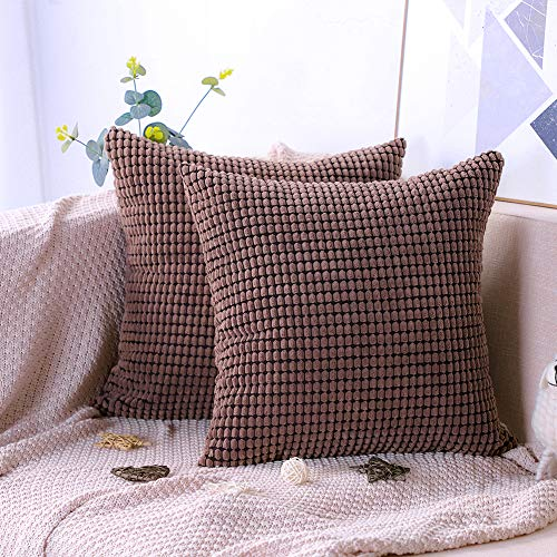 Artscope Pack of 2, Soft Corduroy Solid Color Cushion Covers Big Corn Decorative Square Pillowcases Throw Pillow Covers for Sofa Chair Bedroom Car 45x45cm/18x18 Inch (Dark Brown)