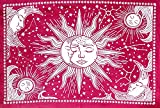 ICC Sun and Moon Tapestry Black White Tapestry Wall Sheet Hanging Room Decor Bedroom Aesthetic Tapestries Mystic Art Ceiling Blanket Home Living Psychedelic Hippie Indian Mandala Mystical Star Beach Red 30 x 40 Inches