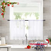 MIULEE 2 Panels Kitchen Tiers Half Window Sheer Curtains for Christmas Rod Pocket Semitranslucent Voile Drapes for Kitchen Bathroom Small Windows 29 by 24 Inch White