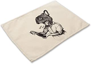 Simmia Home Placemats Set of 6 Non-Slip Heat Resistant Table Place Mats Washable Cotton Linen Dining Table Mats Cartoon Black and White Dog Animal MA0023-3