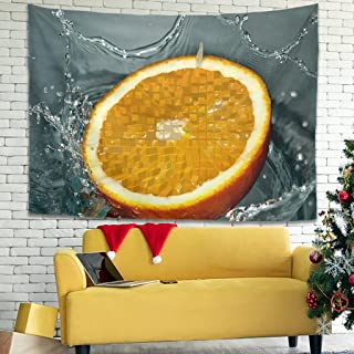 Tapiz de pared con diseño de limón, hippie, para salón, dormitorio, habitación, color blanco, 200 x 150 cm