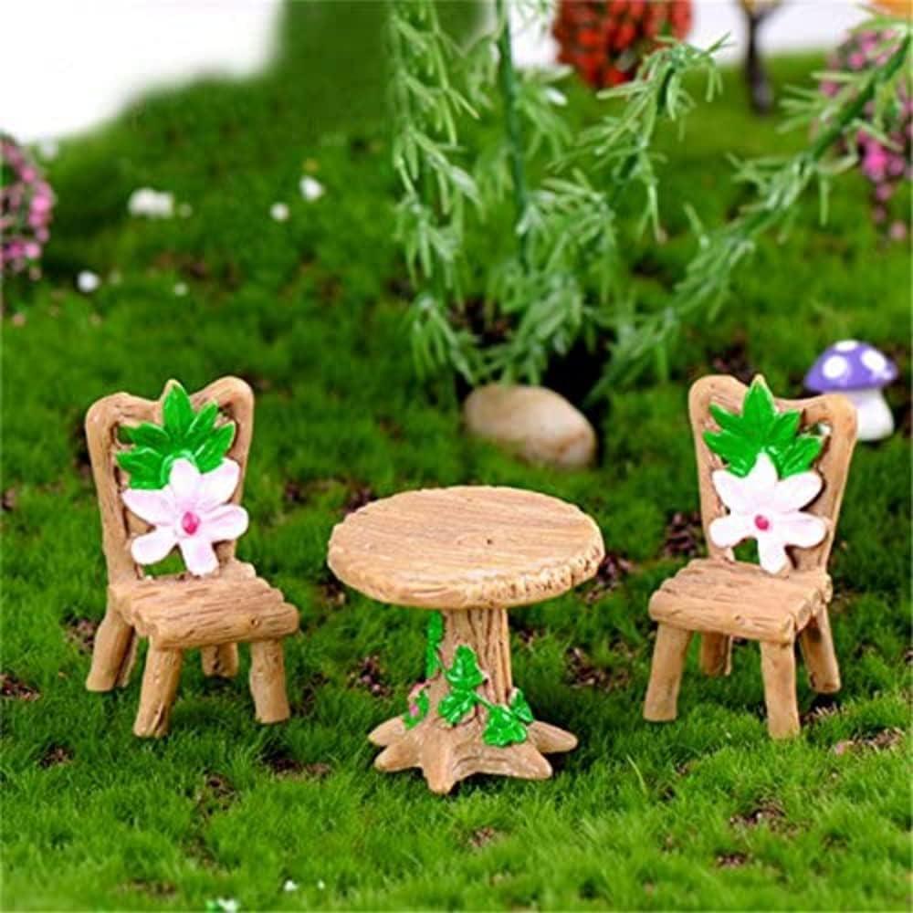 SMME 1 juego de 3 piezas de mesa y sillas florales DIY Bnosai resina miniatura paisaje hadas jardín decoración casa de muñecas accesorios