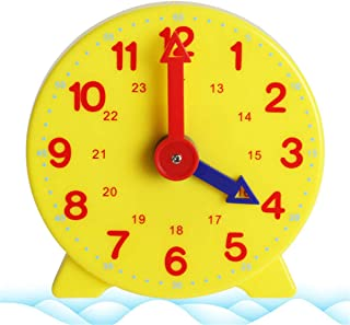 Fmingdou Montessori Student Learning Clock Time Teacher Gear Clock 4 Inch 12/24 Hour