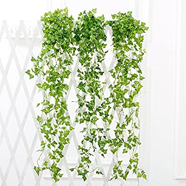 YSBER 12pcs 83 Feet Artificial Ivy & Silk Fake Ivy Leaves Hanging Vine Leaves Garland for Wedding Party Garden Wall Decoration (Sweet potato leaves)