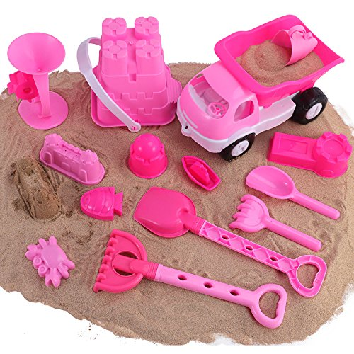 Liberty Imports Pink Princess Castle Beach Set Toy for Girls  Includes Dump Truck Sand Wheel Bucket Play Tools and Molds 14 Pcs Playset
