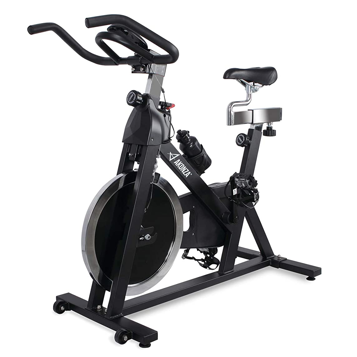 Akonza Indoor Cycle Bike Cycling Trainer Exercise Bike w/ 40 lb Flywheel Stationary Bicycle LCD Monitor, Black