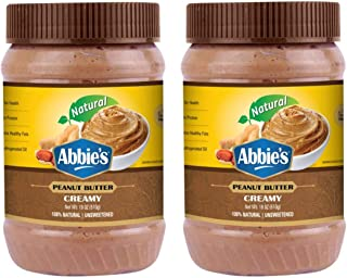 Abbie's Natural Peanut Butter Creamy 100% Natural and Unsweetened, 510g, Pack of 2