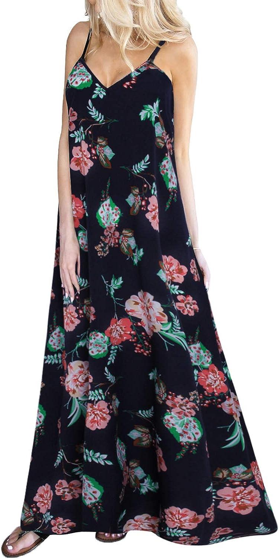 Kidsform Women's Boho Maxi Dress Floral Print Summer Sleeveless Long Casual Loose Sundresses for Women Beach