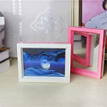 Deerbird Moon in Water Flowing Sand Picture 3D Illusion Landscape Double Color Frame Sand Art with Mirror for Living Room Shelf Art Ornaments