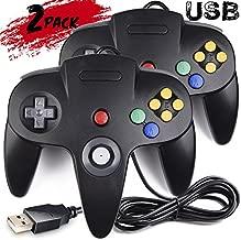 2 Pack USB N64 Controller, iNNEXT N64 Wired PC Gamepad Joystick for Windows PC MAC Linux Raspberry Pi Genesis Project 64 Retropie OpenEmu Emulator (Black/Black)
