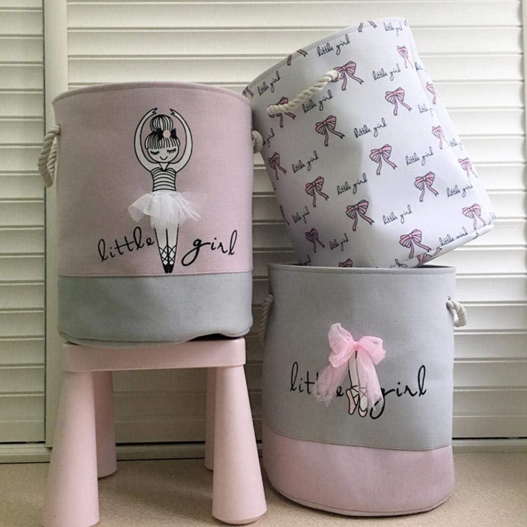 cesta de lavander/ía impresi/ón de color litty089 Bolsa de almacenamiento para ropa sucia con mo/ño de ballet para ni/ña