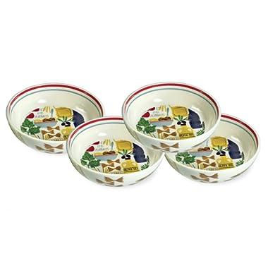 Boston International Pasta Ceramic Bowls, Set of 4, Antipasto