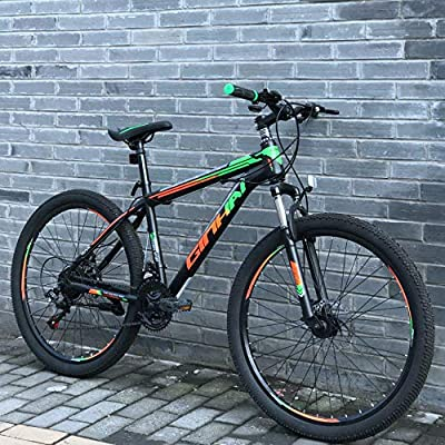 Polandee 21 Speed 26 inch Mountain Bike Aluminum Alloy and High Carbon Steel with Double-Layer Wheels, Double disc Brake Outdoor Bikes for Men Women (BGreen)
