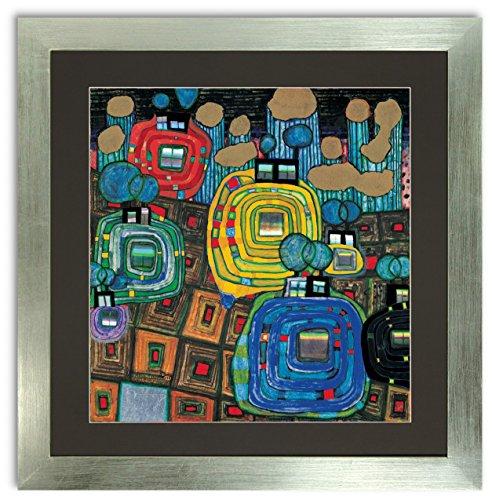 Kunstdruck Bild Friedensreich Hundertwasser Pavilions und Bungalows 55 x 55 cm Galeriebild mit Blattsilber Rahmen PREIS-HIT!