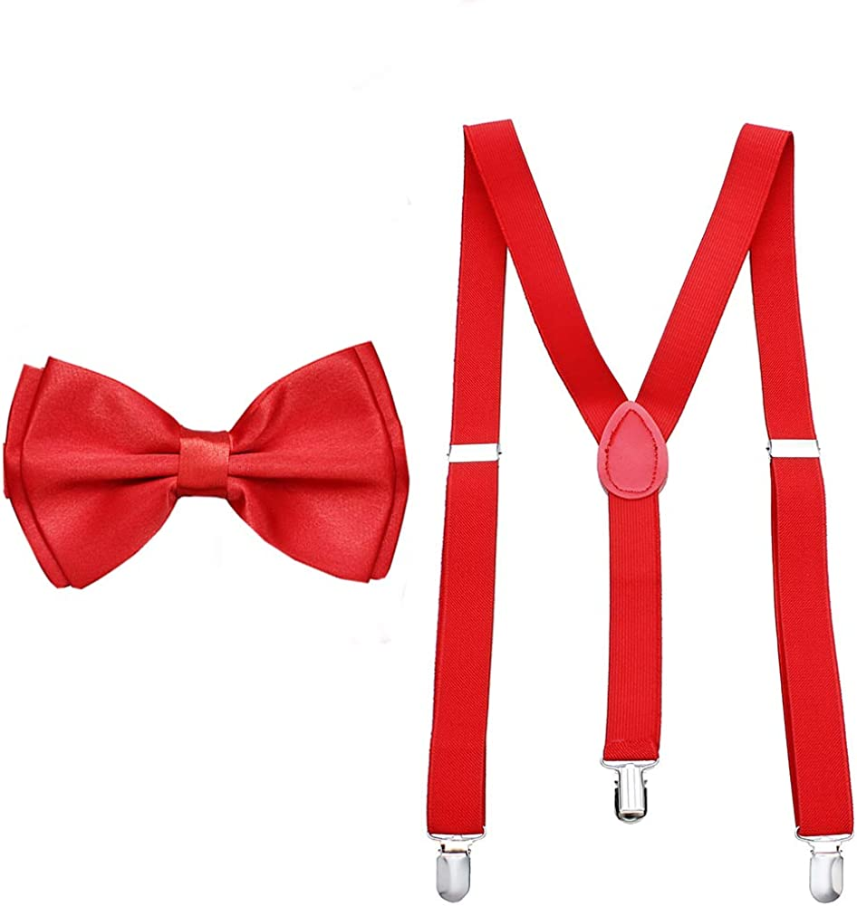 Adjustable Strong Clip Suspenders for Men Bow Tie and Pocket Square with Cuff Links Studs Set