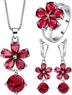 VPbao Flower Round Crystal Pendant 925 Sterling Silver Plated Jewellery Sets Red