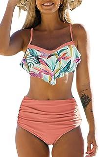 JFAN Femme Maillot De Bain 2 Pièces Push Up Vintage Taille Haute Volants Bottom Ruched Deux Pièces Bikini
