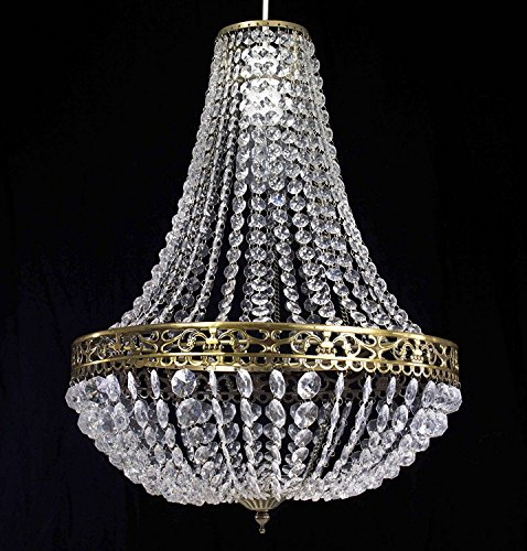 Dove Mill Lighting Chandelier Style Clear Acrylic Antique Brass Ceiling Light Shade Easy Fit Pendant