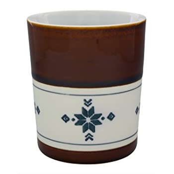 tomofac 焼酎グラス ブラウン 7.5cm 波佐見焼 キーポ 二重構造ローカップ エスニック柄