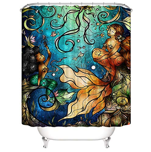 Shigen Art Mermaid Shower Curtain Polyester Fabric Extra Long Waterproof