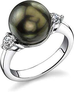 THE PEARL SOURCE 11-12mm Genuine Black Tahitian South Sea Cultured Pearl Olivia Ring for Women