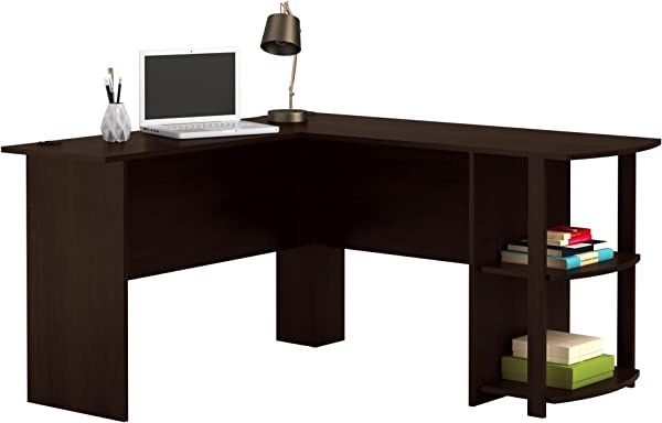 Office L Shaped Desk With 2 Shelves Is Compact And Affordable Easy To Assemble In Dark Cherry Finish By Ameriwood 9354303PCOM