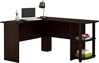 Office L-Shaped Desk with 2 Shelves is Compact and Affordable Easy to Assemble in Dark Cherry Finish by Ameriwood