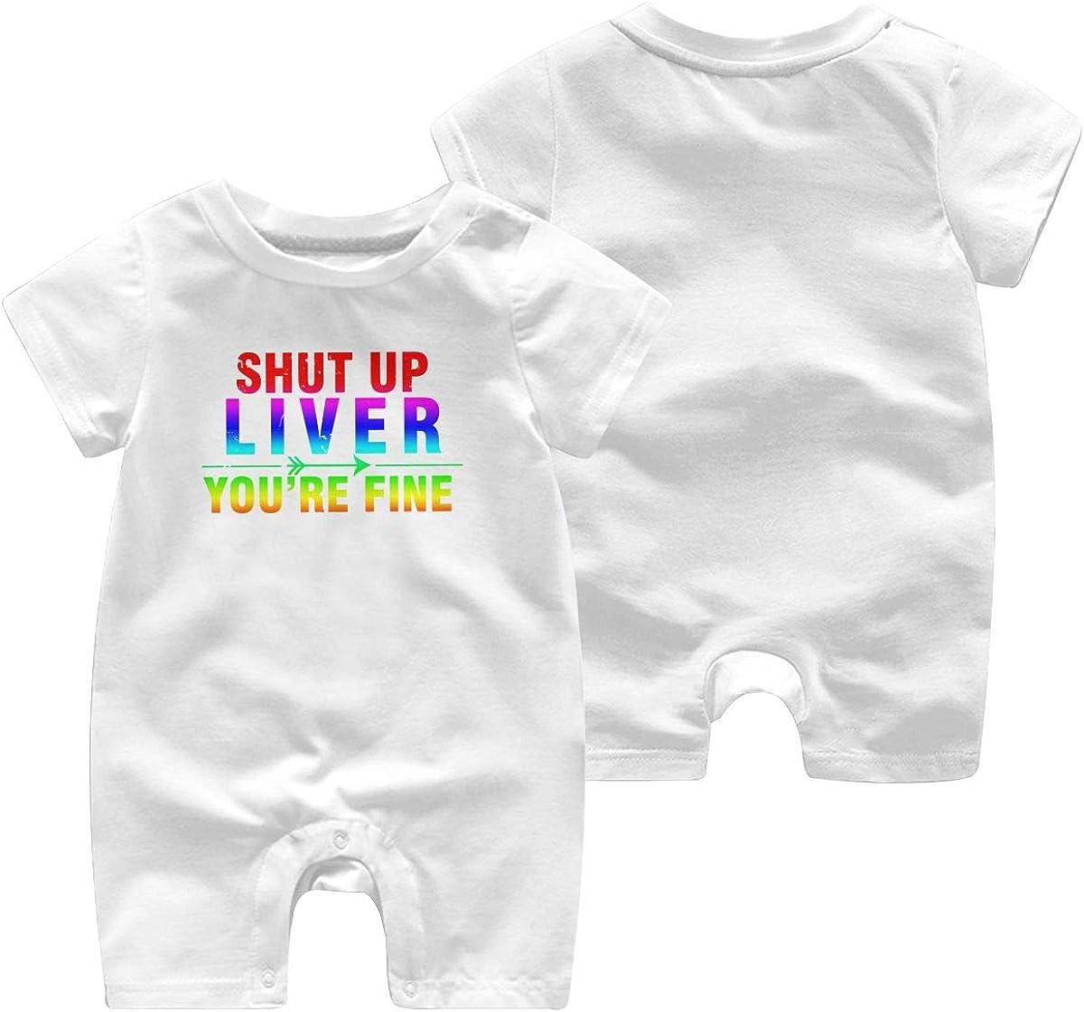 KBIZO-zxl Baby Short Sleeve Bodysuit Shut Up Liver Youre Fine Baby Boys Girls Onesie Clothes