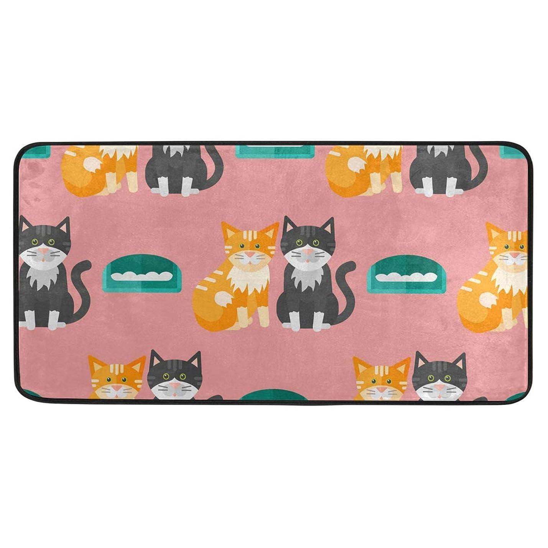 単なるについて戻すUKIO キッチンマット 猫柄 ソファー 台所マット 玄関マット ドアマット おしゃれ 洗える 滑り止め 99×51