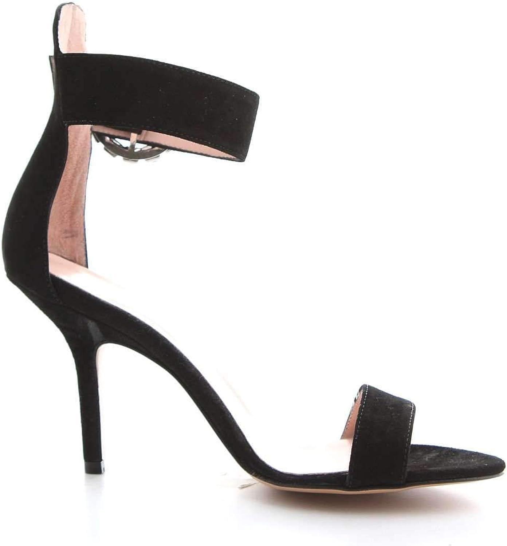 ANNA F Women's 3030BLACK Black Leather Sandals