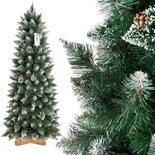 FairyTrees Albero di Natale Artificiale Slim, Pino con Punte innevate Effetto Naturale, PVC, pigne Naturali, Supporto in Legno, 150cm, FT09-150