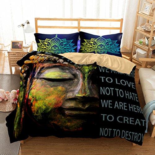 APJJQ Black/Colored Buddha Print Patter Microfiber US Queen Bedding Duvet Cover Set(1 Duvet Cover+2 Pillowcases) 3 Pieces Duvet Set,No Comforter